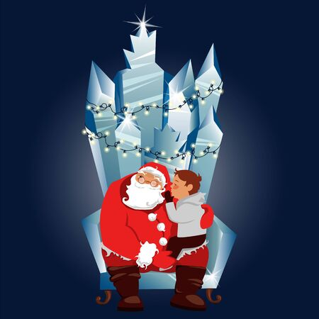 merry Christmas. a boy and Santa Claus on the throne. a small child is talking to Santa 向量圖像