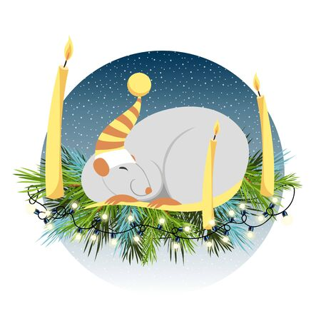 year of rat. Chinese symbol of the new year 2020. funny sleeping mouse