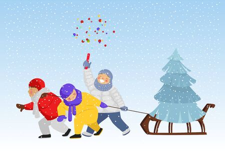 children ride a sled with a Christmas tree. children on Christmas eve. celebratory salute Ilustração