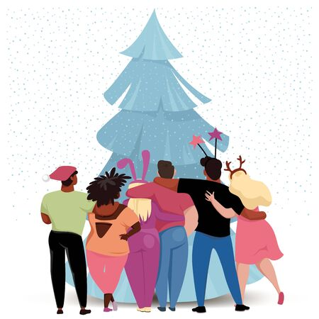 friends celebrate Christmas. funny people in carnival costumes. Christmas tree