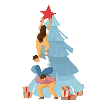 friends decorate Christmas tree. funny people in carnival costumes. pyramid of people