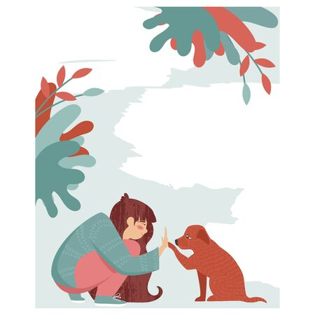 help homeless animals. the girl helps the dog. blank poster for your text Vetores