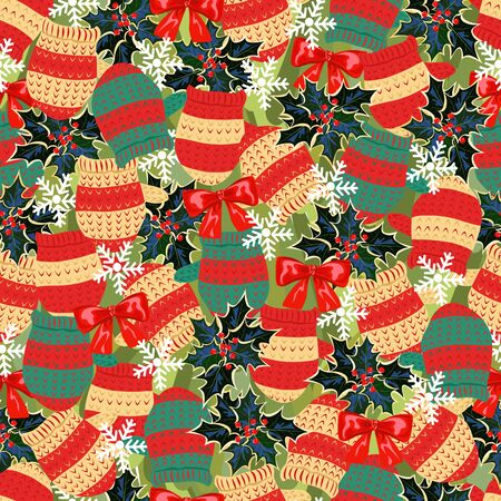 seamless pattern with mittens. Christmas background with Holly and snowflakes Ilustração