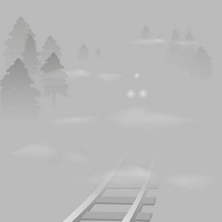 train rides on the railway in the fog. vector image of a headlight of the locomotive