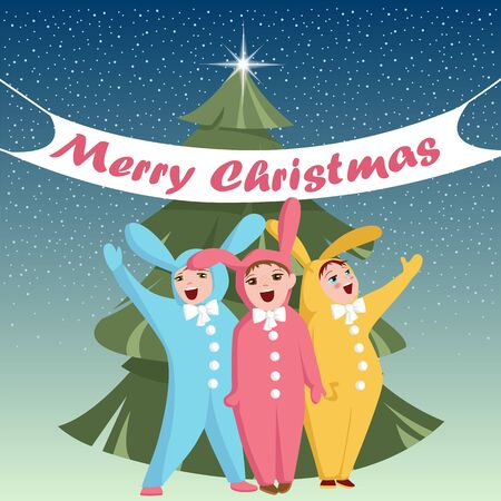 children in Christmas costumes. children sing a song. a group of kids in Bunny costumes