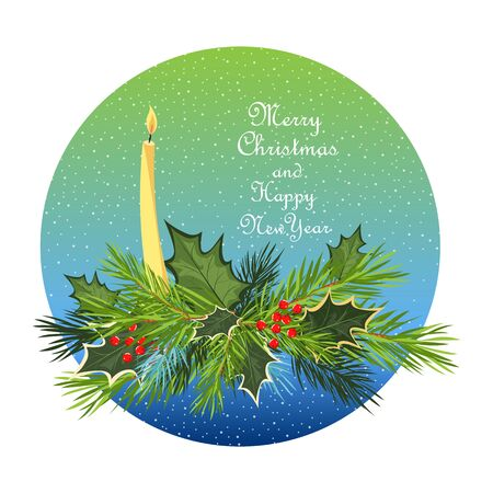 Christmas composition. branches of spruce and Holly with a candle. the inscription merry Christmas and happy new year