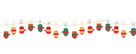 Christmas garland. horizontal seamless pattern with knitted mittens