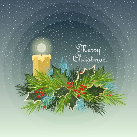 Christmas illustration. Holly leaves and spruce branches. decor with candle
