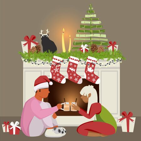 people celebrate Christmas. young couple by the fireplace. guy with a girl drinking eggnog 向量圖像