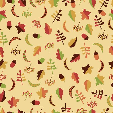 autumn leave. seamless vector background. berries and acorns