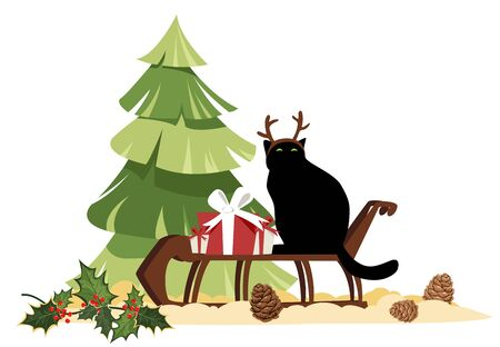 Christmas illustration. cat with deer antlers on a sleigh. vector image