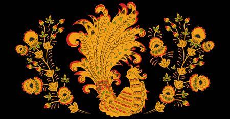 Khokhloma. Russian folk ornament. Phoenix bird in gold and flower patterns 向量圖像
