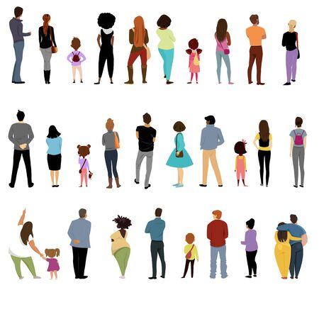 people back. view of people and children behind. a set of vectors. people of different nationalities