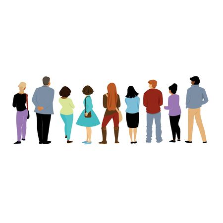 people of different nationalities stand back. view of people behind. vector