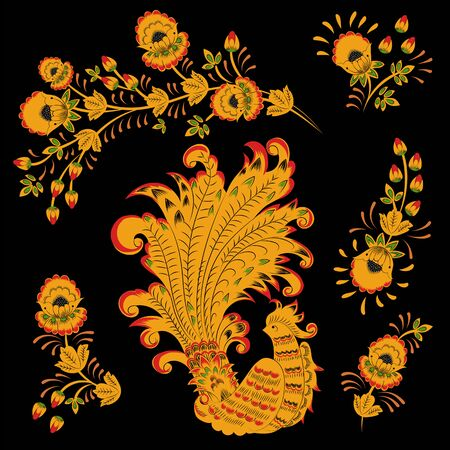 Russian folk ornament Khokhloma. Phoenix bird in gold and flower patterns. a set of vectors 向量圖像