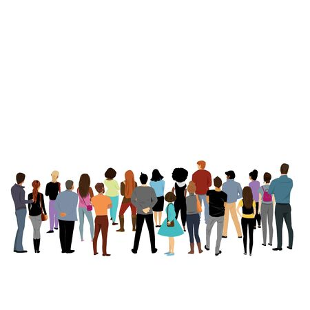 view of people behind. people back. crowd. people of different nationalities Illustration