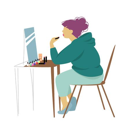 girl doing makeup. visagiste. woman makeup artist. vector illustration