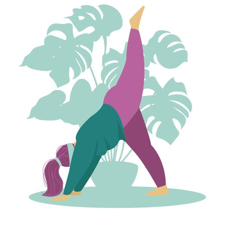 the girl is engaged in yoga. athletic activity. vector illustration 스톡 콘텐츠 - 133448242