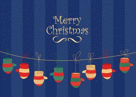 Christmas garland. knitted mittens. Christmas illustration Foto de archivo - 133448263