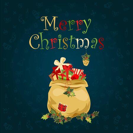 Christmas gift bag. Christmas illustration with Christmas symbols 向量圖像