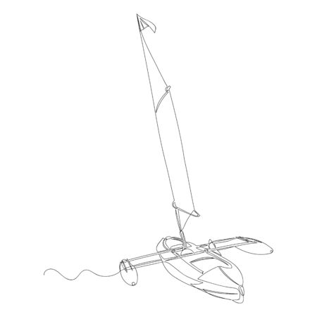 sailing boat. contour drawing. one line. sketch of the yacht