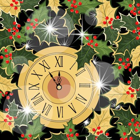 Christmas illustration. eve of christmas. clock and Holly leaves