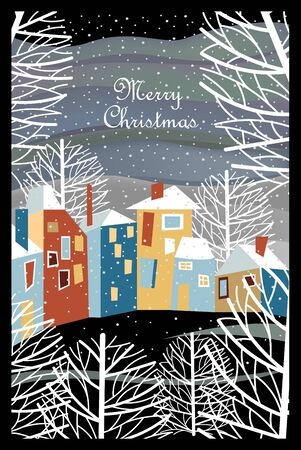 Christmas landscape. city in winter. greeting vector card Foto de archivo - 134019888