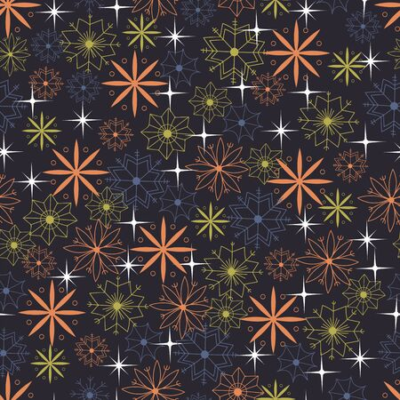 Christmas seamless pattern. colored snowflakes on a dark background
