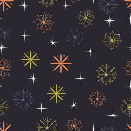 colored snowflakes and stars on a dark background. Christmas seamless pattern Ilustrace