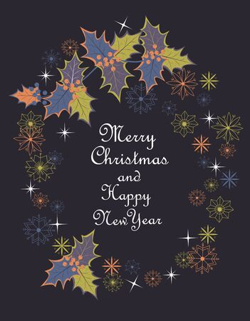 merry Christmas. Holly leaves and snowflakes. Christmas vector greeting