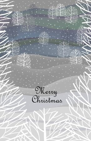 winter Christmas landscape. Christmas greeting card. vector image