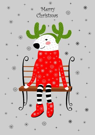 Christmas card with a reindeer in a sweater. horns of the cactus. deer on the bench 向量圖像