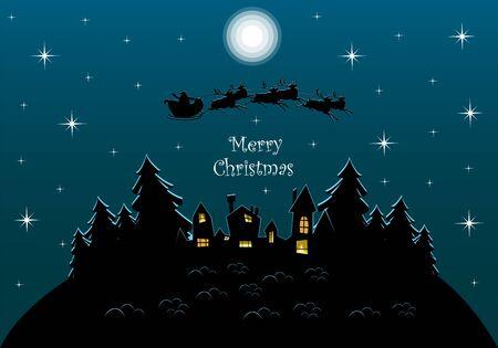 Christmas landscape. Santa Claus on reindeer in the sky. winter village. greeting card Foto de archivo - 134409890