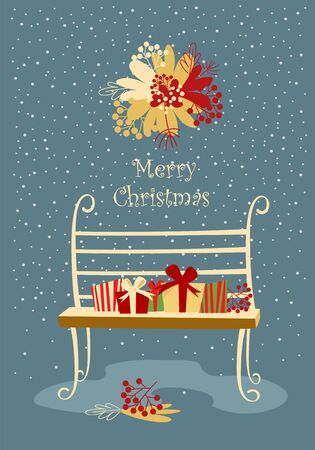 christmas postcard. boxes with gifts on the bench. mistletoe flowers Foto de archivo - 134409918