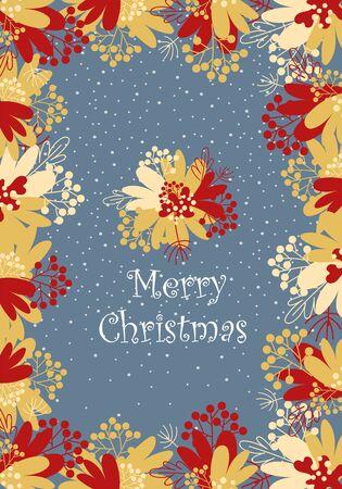 christmas postcard. greeting card. floral ornament. merry Christmas 向量圖像