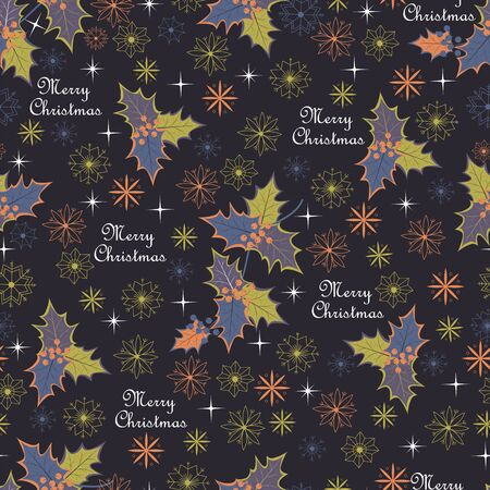 Holly leaves and snowflakes. Christmas seamless pattern. merry Christmas Foto de archivo - 134409920