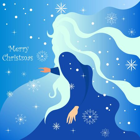 merry Christmas. the girl in the blue dress. vector illustration with snowflakes Foto de archivo - 134409921
