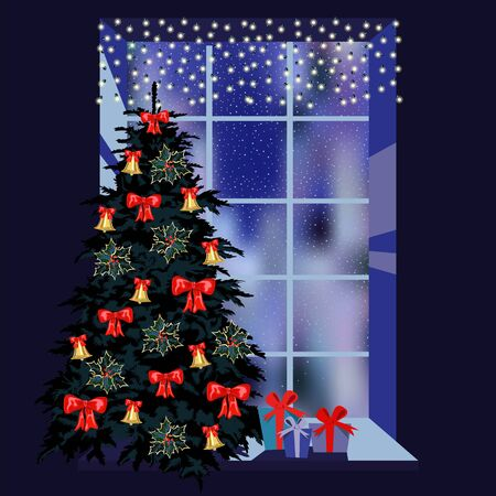 the Christmas window. Christmas tree and gifts. the evening window is decorated with a garland Foto de archivo - 134409924