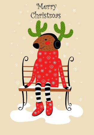 vector greeting card with Christmas reindeer. deer in sweater and with horns from cactus on bench 向量圖像