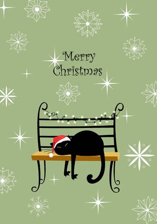 vector greeting card with Christmas. cat in Santa hat on the bench. merry Christmas