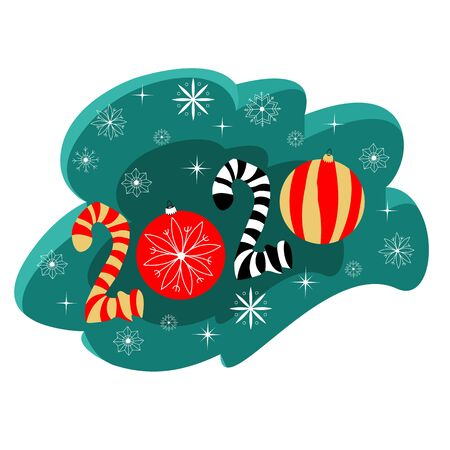 new year 2020. vector image of symbolic figures of the calendar. snowflakes and balls 向量圖像