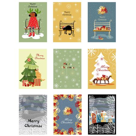 set of Christmas cards. greeting posters. vector merry Christmas greetings