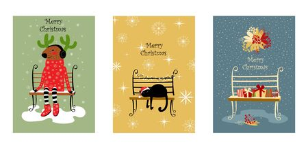 set of vector Christmas cards. a deer in a sweater with cactus horns. cat on the bench. illustrations with bench