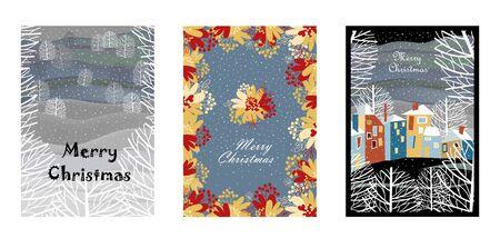 set of vector Christmas cards. Christmas landscape. village in winter. floral ornament Foto de archivo - 135152977