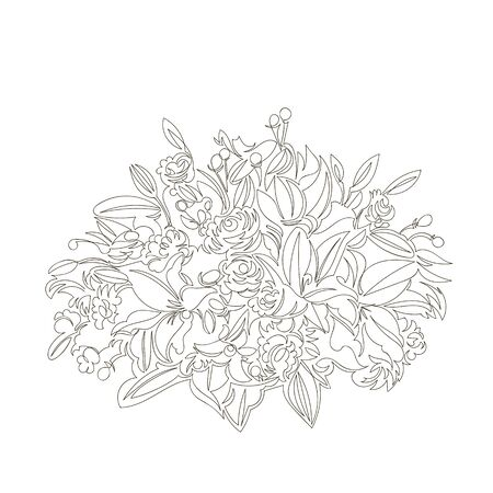 vector image of a bouquet of flowers. contour line drawing. continuous line. one line