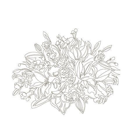 vector image of a bouquet of flowers. contour line drawing. continuous line. one line Foto de archivo - 135152995