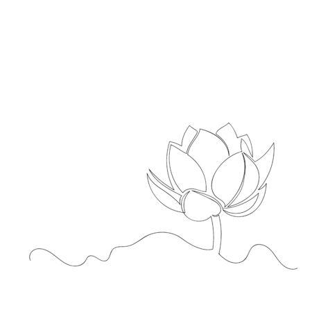 vector image of Lotus flower. contour drawing. continuous line. one line Foto de archivo - 135152999