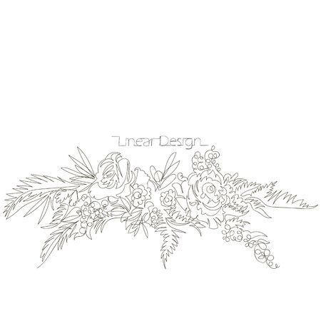 bouquet of flowers. linear vector image of flowers. one continuous line