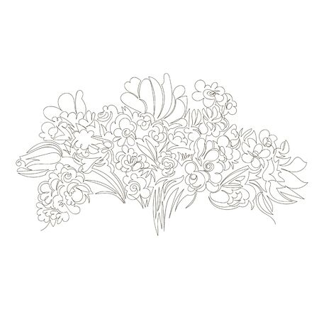 bouquet of flowers. vector linear image of flowers. designer bouquet. one line 向量圖像