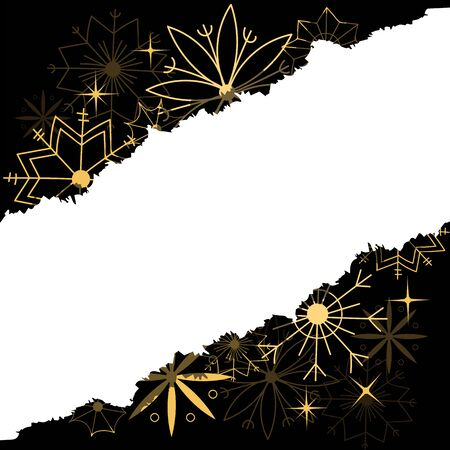christmas postcard. Golden snowflakes on a black background. torn paper. blank form